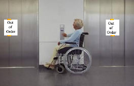 An out of order lift, no access for a wheelchair user