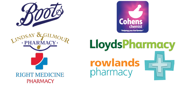 Pharmacy Logo for Boots, Cohens, Lindsay & Gilmour, Lloyds, Rights and Rowlands