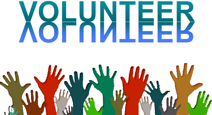 volunteering with hands raised