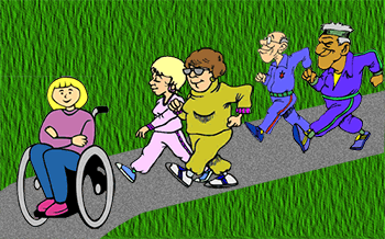 Image depicting 2 men and 2 women and a wheelchair user out for a walk