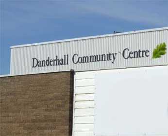 Image of the front wall to the Danderhall leisure centre