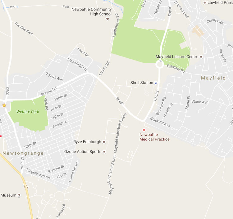 Image map of Newtongrange area with marker pins to show area of disabled persons parking bays
