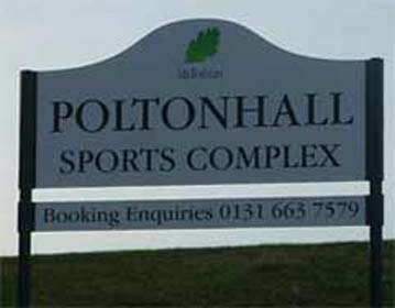 Poltonhall sports Complex welcome sign at enrance to the car park