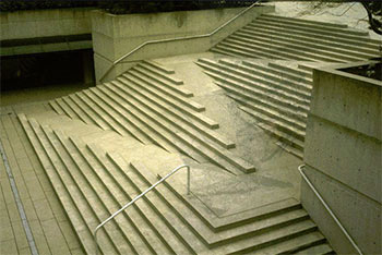 a wheelchair ramp access built into stairs